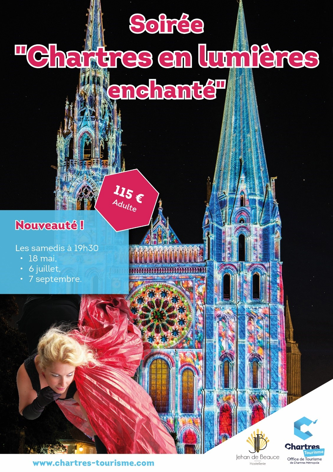 Chartres en lumières enchanté pack restaurant gastronomique Jehan De Beauce et visite chantée de Chartres avec la  soprano internationale Veronica Antonelli
